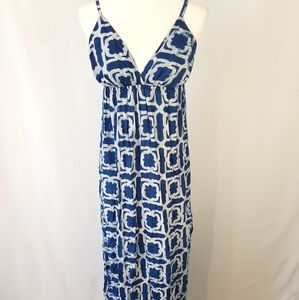 Lovestitch Blue White Hand Dye V-Neck Maxi Dress M